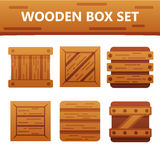 Colorful wooden box set. Bright and stylish elements for your design. Colorful wooden box set. Bright and stylish elements for your design and web app Stock Images