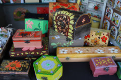 Colorful wooden boxes Royalty Free Stock Photos