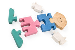 Colorful wooden boy puzzle pieces Royalty Free Stock Photography