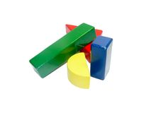 Colorful wooden building block shapes Royalty Free Stock Image