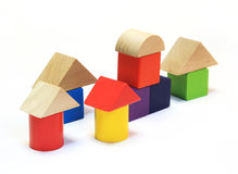 Colorful wooden building blocks Royalty Free Stock Photos