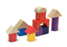 Colorful wooden building blocks. On white background royalty free stock image
