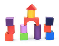 Colorful wooden building blocks. On white background stock photo