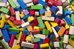 Colorful wooden building blocks. Background. Children toys royalty free stock image