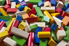 Colorful wooden building blocks. Background. Children toys stock image