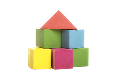 Colorful wooden building blocks isolated on white Stock Image