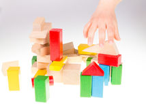 Colorful wooden building blocks Royalty Free Stock Photo