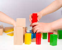 Colorful wooden building blocks Stock Photography