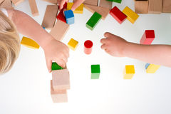 Colorful wooden building blocks Stock Photo