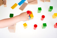 Colorful wooden building blocks Royalty Free Stock Photography
