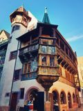 Colorful wooden building facade in Colmar city, France, Alsace. Historic town traditional house. Medieval architecture royalty free stock photos