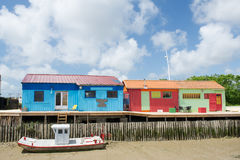 Colorful wooden cabins. For oyster fishermen at Chateau de Oleron Royalty Free Stock Image
