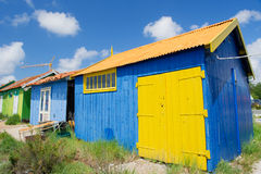 Colorful wooden cabins. For oyster fishermen at Chateau de Oleron Stock Image