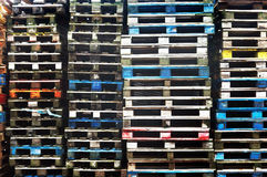 Colorful wooden cargo pallets Royalty Free Stock Photos