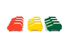 Colorful wooden cars Royalty Free Stock Photos