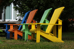 Colorful wooden chairs Royalty Free Stock Photography