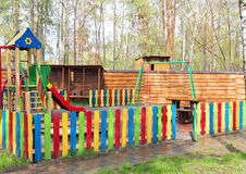 Colorful wooden children playground equipment Stock Image