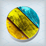 Colorful wooden circular plate Stock Photography