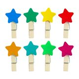 Colorful Wooden clip isolated on white background. Colors clips in star shape. Clipping path