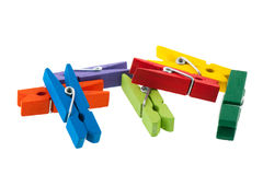 Colorful wooden clothes pins Royalty Free Stock Photos