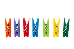 Colorful wooden clothes pins Royalty Free Stock Photo
