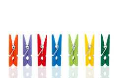 Colorful wooden clothes pins Royalty Free Stock Images