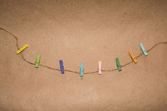Colorful wooden clothespin. Background of colorful clothes pegs. Closeup of colorful clothespins Royalty Free Stock Photos