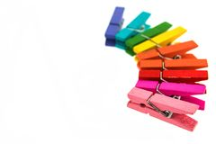 Colorful wooden clothespin isolated. On white background Stock Images