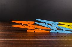 Colorful wooden clothespins Royalty Free Stock Image