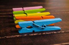 Colorful wooden clothespins Royalty Free Stock Photo