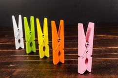 Colorful wooden clothespins Stock Photos