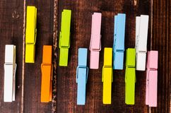 Colorful wooden clothespins Stock Photography