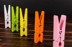 Colorful wooden clothespins Stock Photo
