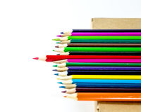 Colorful wooden crayon on white background Royalty Free Stock Images