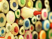 Colorful wooden crayons closely. Royalty Free Stock Image