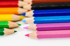Colorful wooden crayons, pencils Stock Image