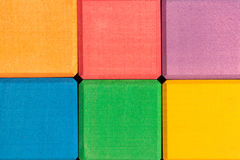 Colorful wooden cubes wall as background Royalty Free Stock Images