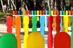 Colorful wooden decorative fence in the city park Royalty Free Stock Images