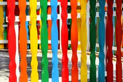 Colorful wooden decorative fence in the city park Stock Images