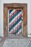 Colorful wooden door. In Czech Stock Photos