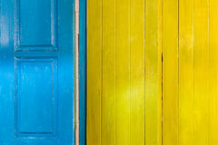 Colorful wooden door and window frames background Royalty Free Stock Image