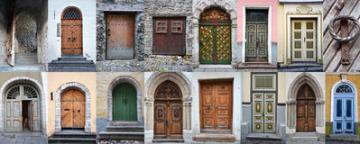 Colorful wooden doors and gates from old town of Tallinn Stock Photo