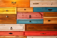 Colorful Wooden Drawer. Detail Photo royalty free stock photo
