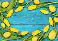 Colorful wooden easter background Royalty Free Stock Photo