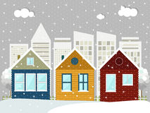 Colorful Wooden Eco Houses. Winter Theme. Colorful Wooden Eco Houses With Abstract Skylies. Winter Theme vector illustration