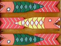 Colorful wooden fence. Fish shape Stock Photography