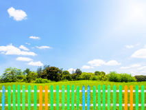 Colorful wooden fence with green grass in garden, clear blue sky Royalty Free Stock Photography