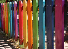 Colorful wooden fence on a playground Stock Photo