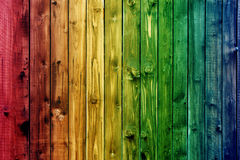 Colorful wooden fence table blue sky blue green colored table heart flower blur background valentine Stock Photo