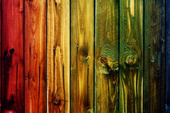 Colorful wooden fence table blue sky blue green colored table heart flower blur background valentine Royalty Free Stock Photos
